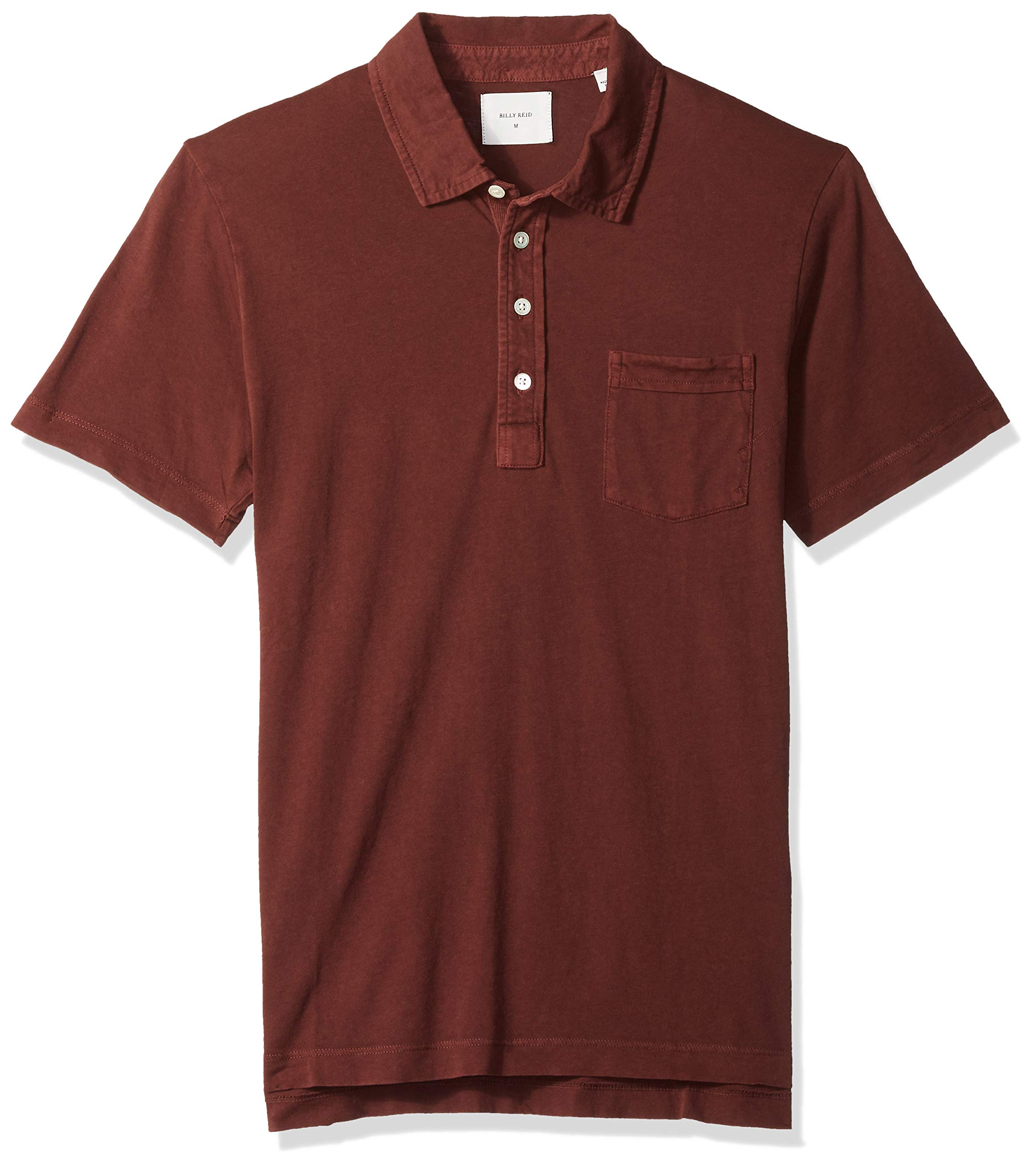 Billy Reid Men's Short Sleeve Pensacola Polo Shirt with Pocket, g/dye burgundy, M