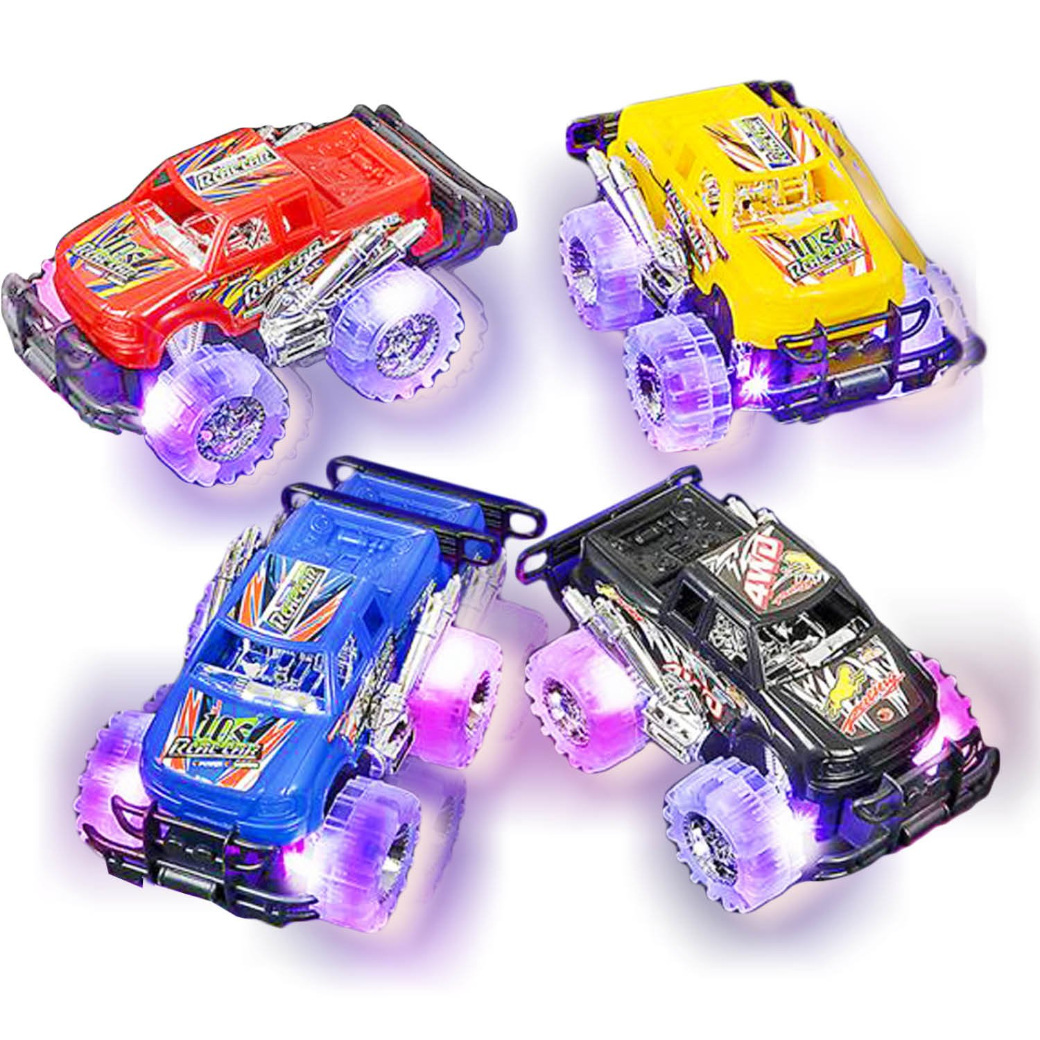 Light Up Monster Truck Set for Boys and Girls by ArtCreativity - Set Includes 2, 6 Inch Monster Trucks with Beautiful Flashing LED Tires - Push n Go Toy Cars Best Gift for Kids - for Ages 3+ by ArtCreativity