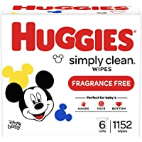 Baby Wipes, Huggies Simply Clean, UNSCENTED, Hypoallergenic, 6 Refill Packs, 1152 Count
