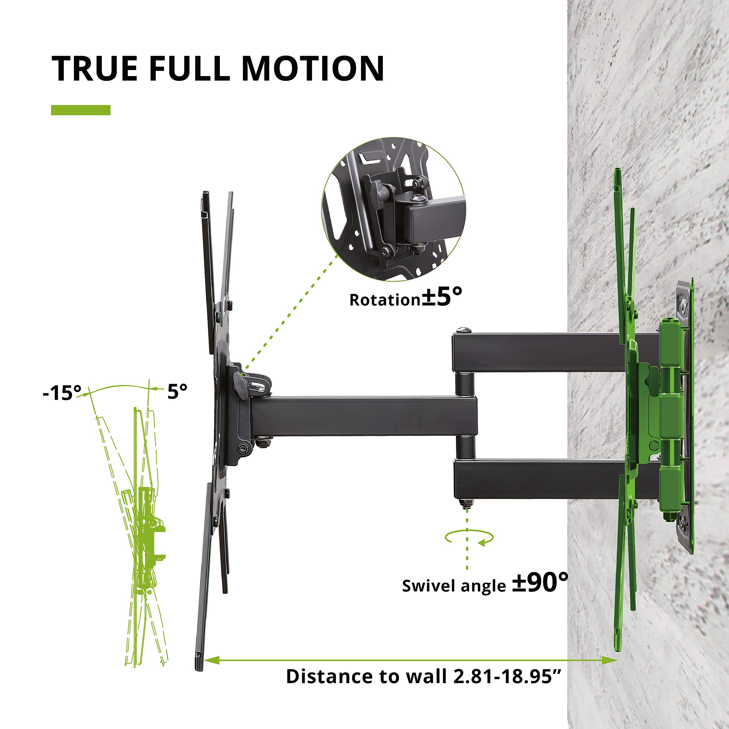 USX MOUNT Full Motion Swivel Articulating Tilt TV Wall Mount Bracket for 26-55'' LED, OLED, 4K TVs-Fit for 32, 40, 50 TV with VESA Up to 400x400mm-Weight Capacity Up to 60lbs by USX MOUNT (Image #3)