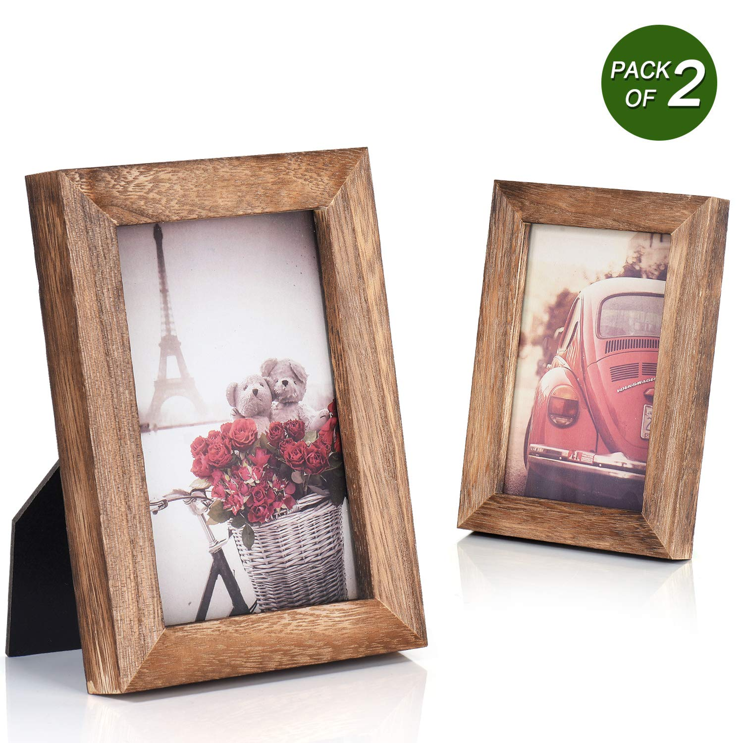 Emfogo 4x6 Picture Frame Photo Display for Tabletop Display Wall Mount Solid Wood High Definition Glass Photo Frame Pack of 2 by Emfogo