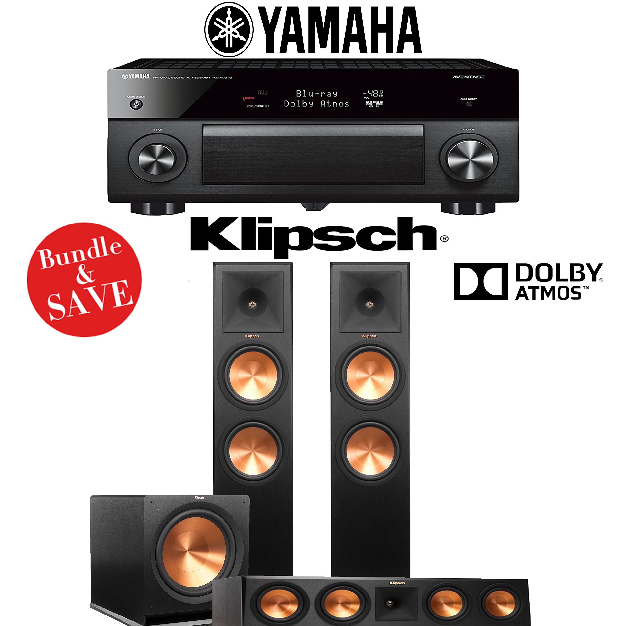 Yamaha AVENTAGE RX-A2070BL 9.2-Ch 4K Network AV Receiver + Klipsch RP-280FA + Klipsch RP-450C + Klipsch R-115SW - 3.1-Ch Dolby Atmos Home Theater Package by Yamaha