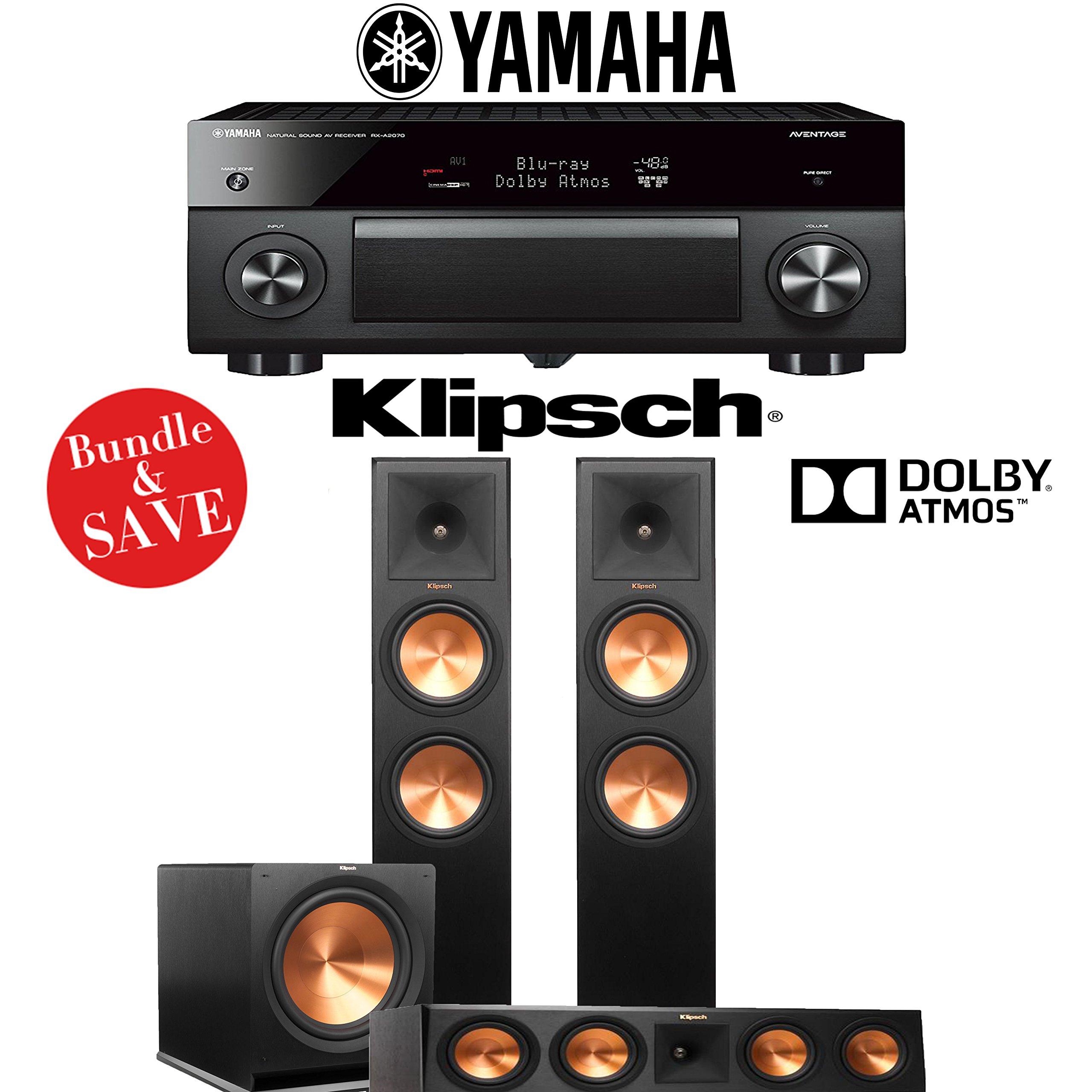Yamaha AVENTAGE RX-A2070BL 9.2-Ch 4K Network AV Receiver + Klipsch RP-280FA + Klipsch RP-450C + Klipsch R-115SW - 3.1-Ch Dolby Atmos Home Theater Package