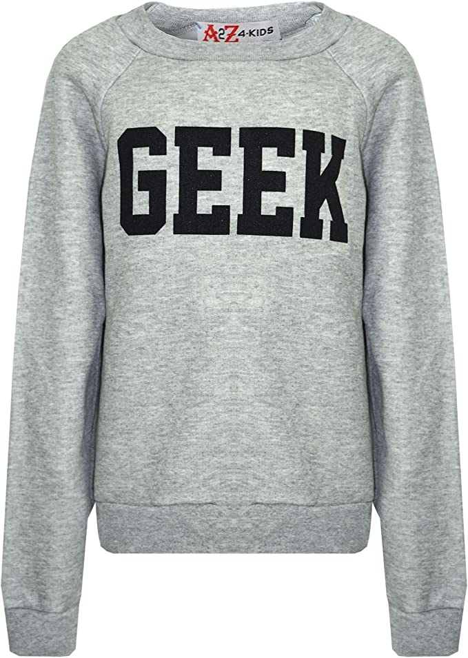 Kids Boys Girls Top GEEK Print Sweatshirt Tops Jumper Shirt New Age 7-13 Years