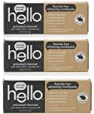 Hello Activated Charcoal Fluoride Free Whitening Toothpaste With Fresh Mint+Coconut Oil 4.0 Oz (Pack Of 3)