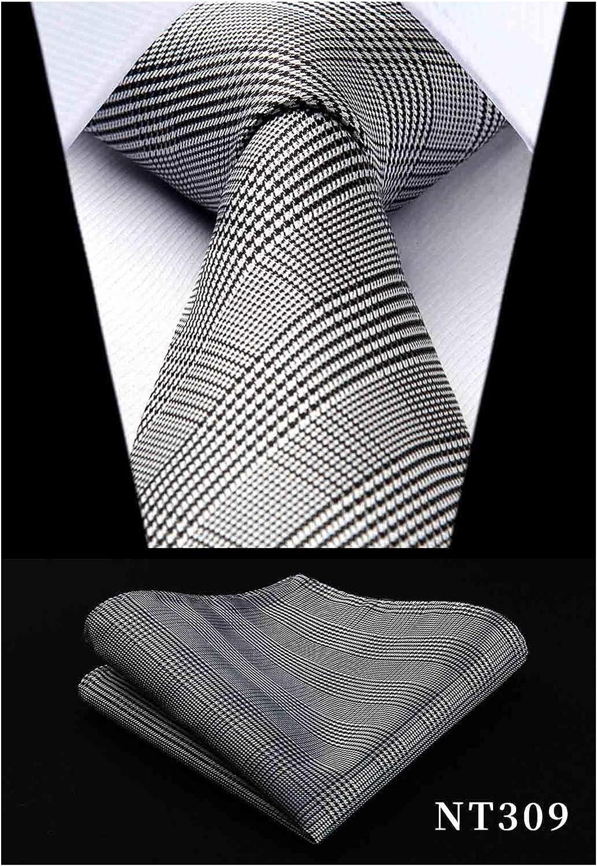 Tie Neck tie with Handkerchief Grey /& Gold
