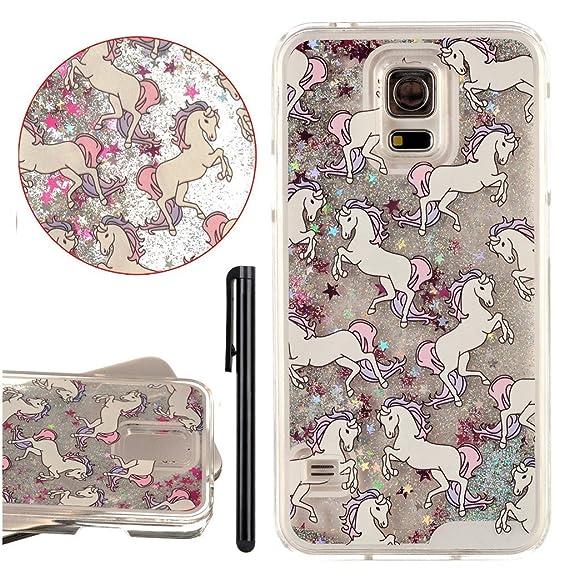 online store 042cc e5a6b KAWOO Galaxy S5 Shiny stars Case,Cartoon Horse Liquid floating Glitter  Clear Hard Case Cover For Samsung Galaxy S5(Silver)
