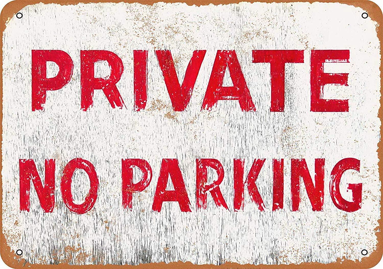 Mr.sign Private No Parking Targa in Metallo Targhe Cartello Retro Decorazione della Parete per Negozio Garage Casa Giardino Bar Caffetteria Ristorante Hotel
