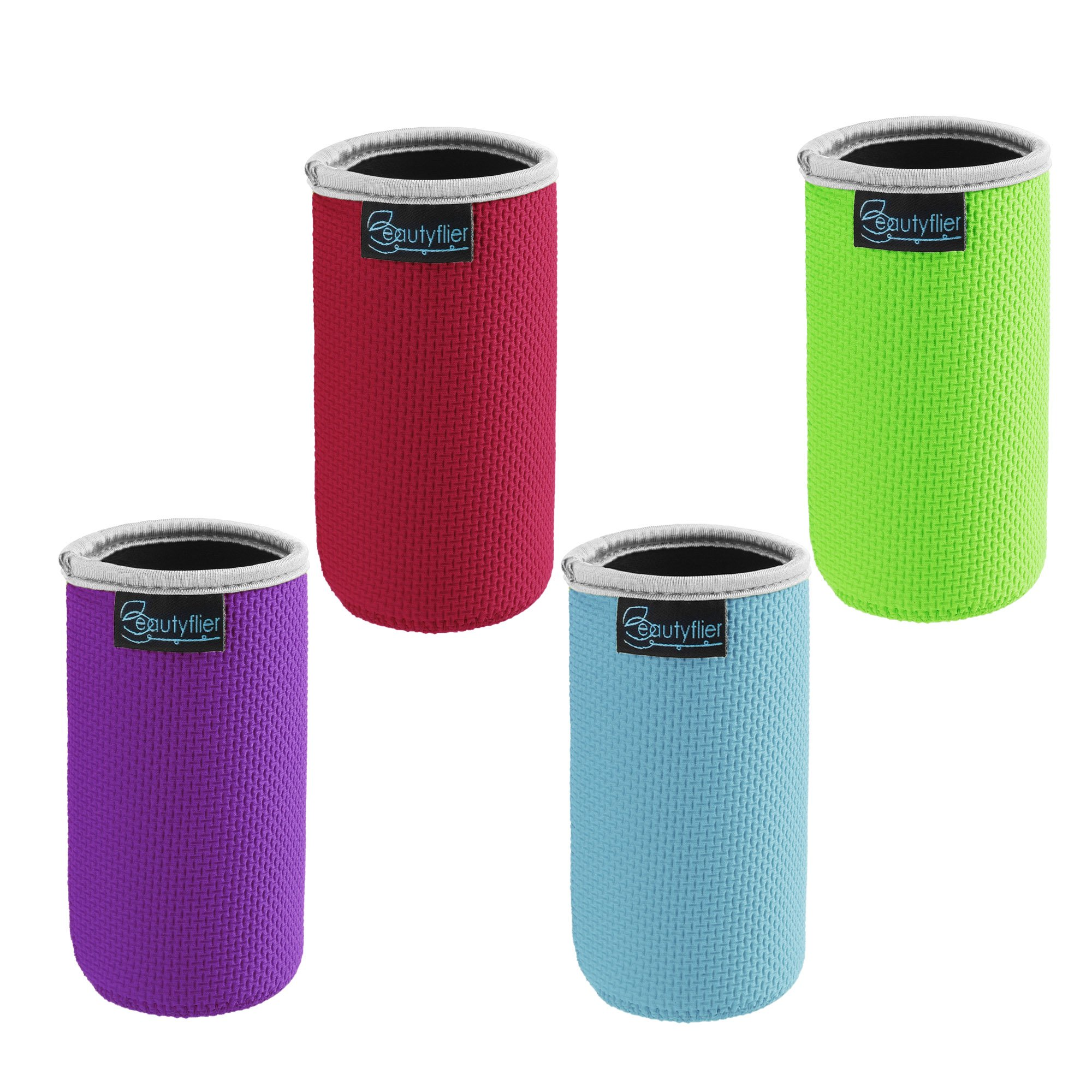 Beautyflier Pack of 4 Anti-Slip Embossed Neoprene Bottle Insulator Sleeve 3mm Thick Collapsible Drink Can Coolie Cover for BBQ Camping Party (12oz(red/green/light blue/purple))