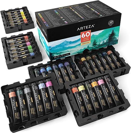 Arteza Wasserfarben Set Malfarbe In 12ml Tuben 60 Verschiedene