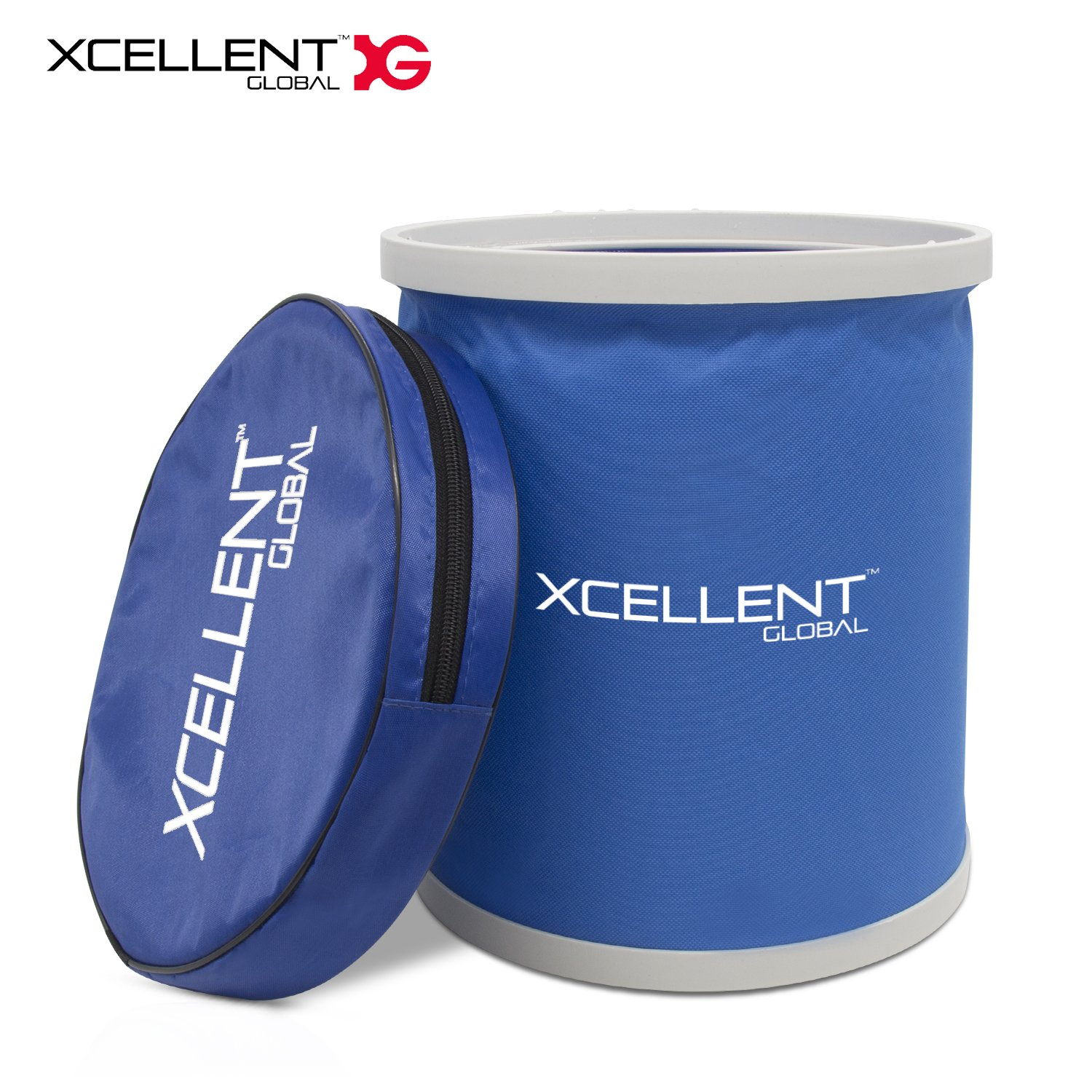 Xcellent Global Foldable Bucket Portable Outdoor Collapsible Water Storage Container for Camping Traveling Hiking Fishing Car Washing & Household Use 11L AT032
