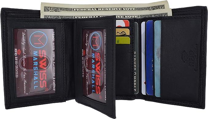 Swiss Marshall Men/'s RFID Blocking Premium Leather Classic Trifold Wallet