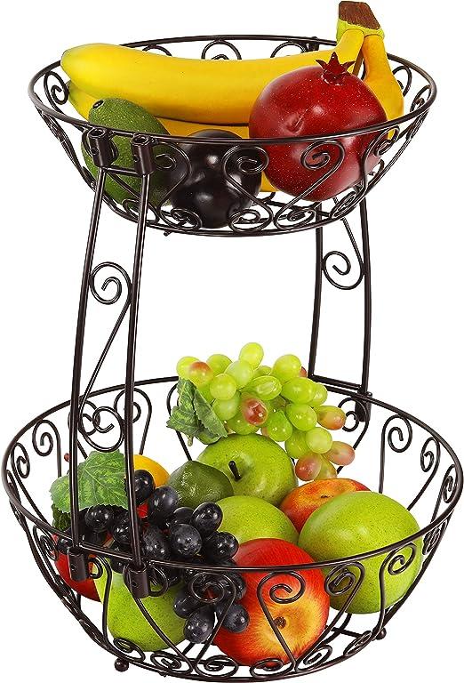 Bronze 2-Tier Countertop Fruit Basket Bowl Storage