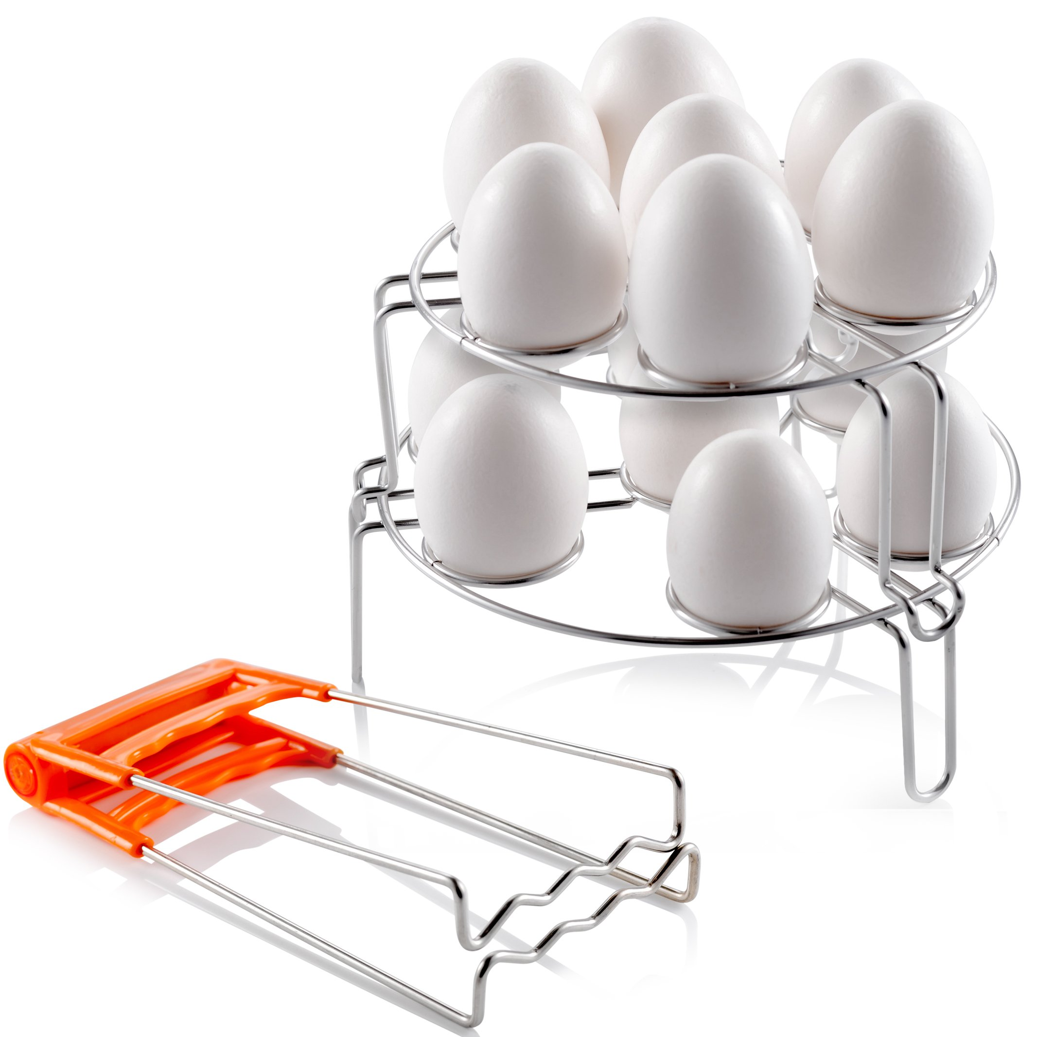 Stainless Steel Egg Steamer Rack for Instant Pot (2PC) | BONUS Plate Gripper | Stackable Steaming Stand for Pressure Cooker | Multipurpose Boiled Egg Cooker, Vegetable & Meat Steam Basket