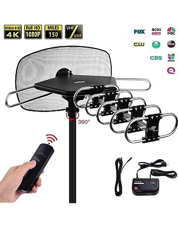 3d21c771d188 TV Antenna - Mesqool Amplified Outdoor Digital HDTV Antenna 150 Mile Range  Motorized 360 Degree Rotation