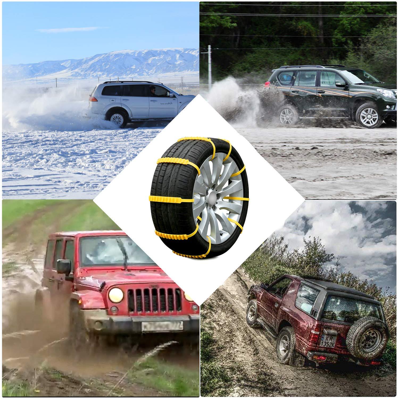 20pz Cadenas de nieve coche, Rupse Cadena Nieve fácil de instalación y de quitar, doble fila de dientes, reutilizables, applicabile a Hielo, fango, ...