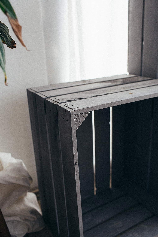 Boden Kurz Anthrazit, 1 50 x 40 x 30cm massiv und stabil Teramico Holzkisten//Obstkisten//Weinkisten in Grau//Anthrazit GEHOBELTE QUALIT/ÄT
