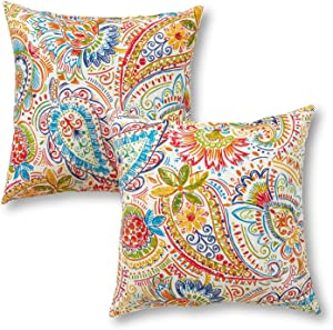 Greendale Home Fashions AZ4803S2-JAMBOREE Jubilee Outdoor 17-inch Square Throw Pillow (Set of 2)