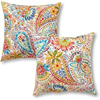 """Greendale Home Fashions 17"""" Outdoor Accent Pillows, Set of Two in Painted Paisley, Jamboree"""