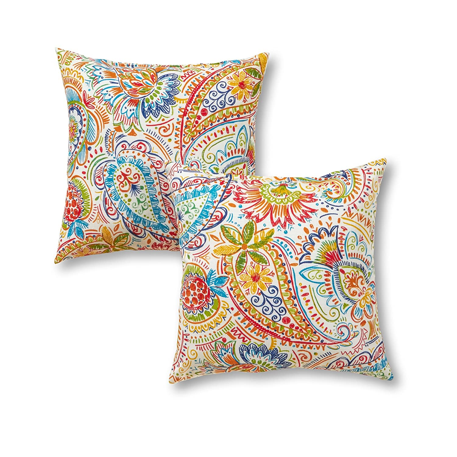 Greendale Home Fashions 17 Outdoor Accent Pillows in Painted Paisley Set of 2 , Jamboree