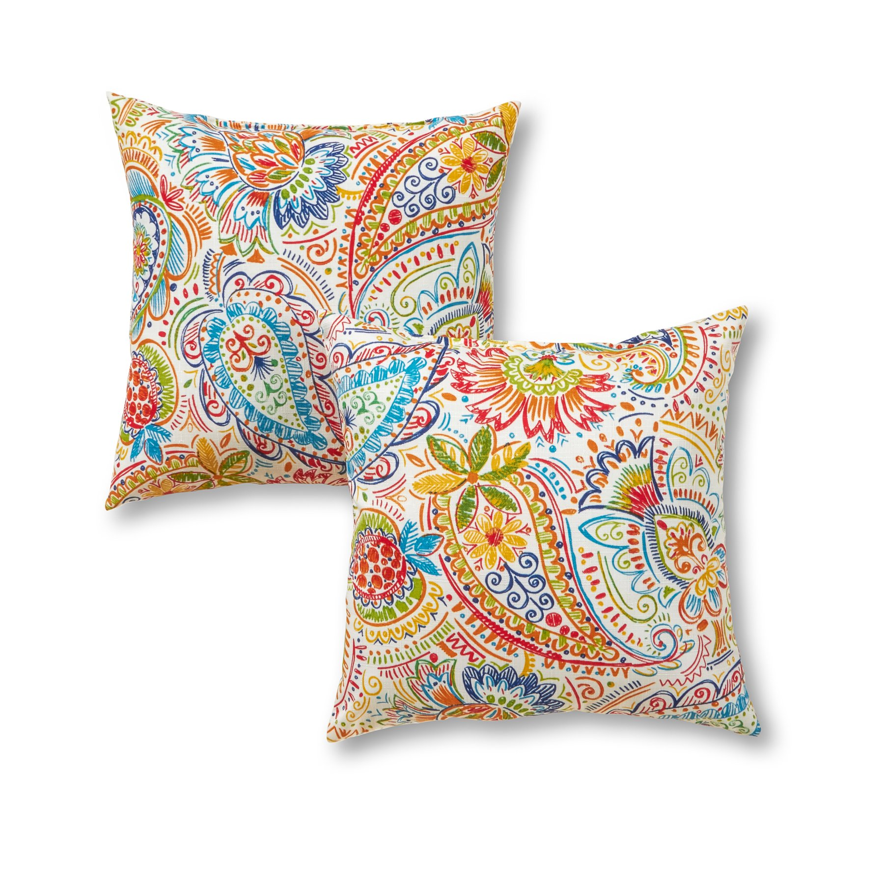Greendale Home Fashions 17'' Outdoor Accent Pillows in Painted Paisley (Set of 2), Jamboree