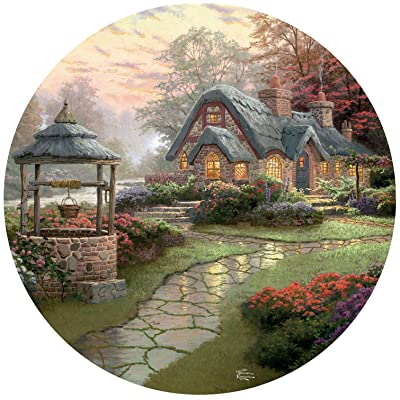 Thomas Kinkade Make A Wish Cottage Round Puzzle - 500Piece: Toys & Games