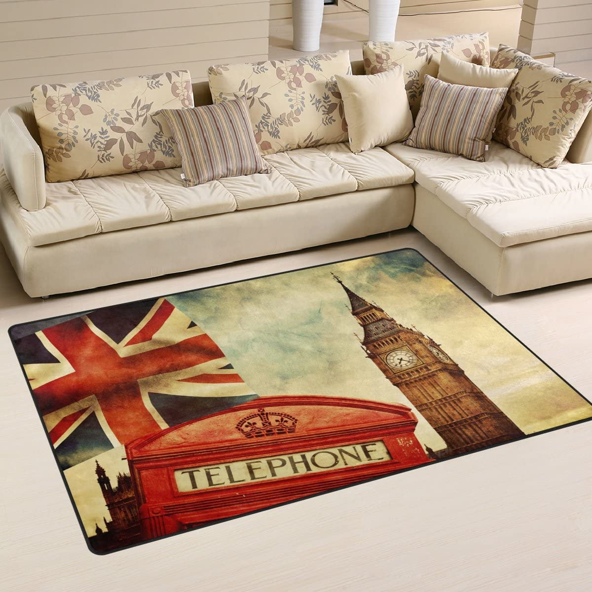 WOZO Vintage England Union Jack Area Rug Rugs Non-Slip Floor Mat Doormats Living Dining Room Bedroom Dorm 60 x 39 inches inches Home Decor