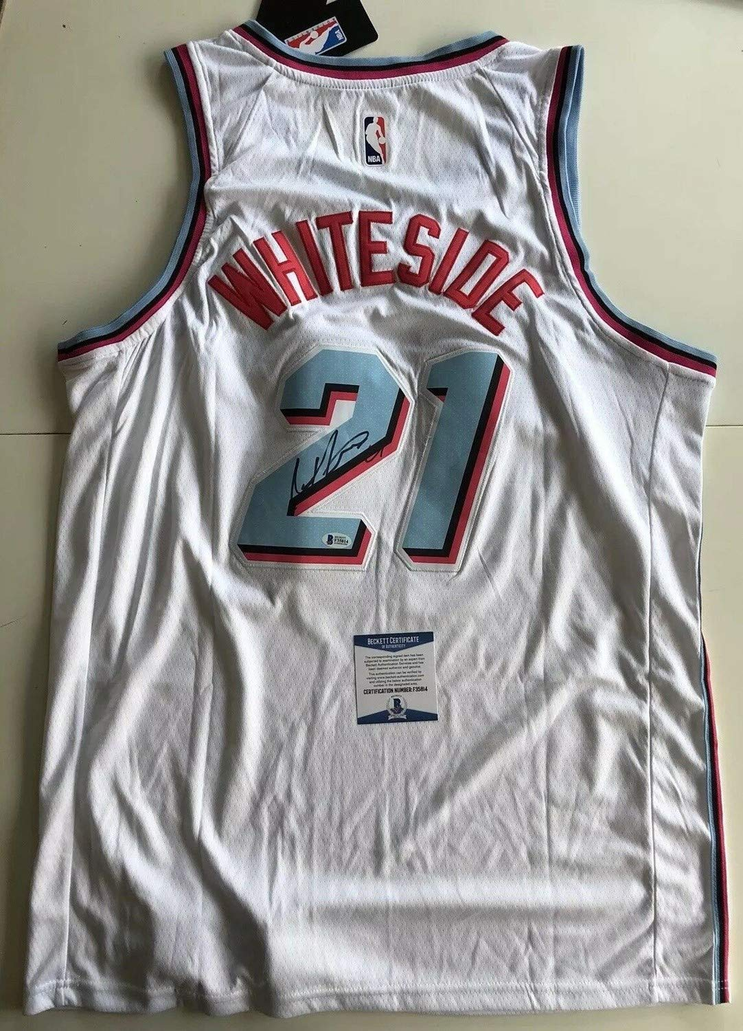 official photos 6a28b 64994 Hassan Whiteside Autographed Signed Miami Vice Heat Jersey ...