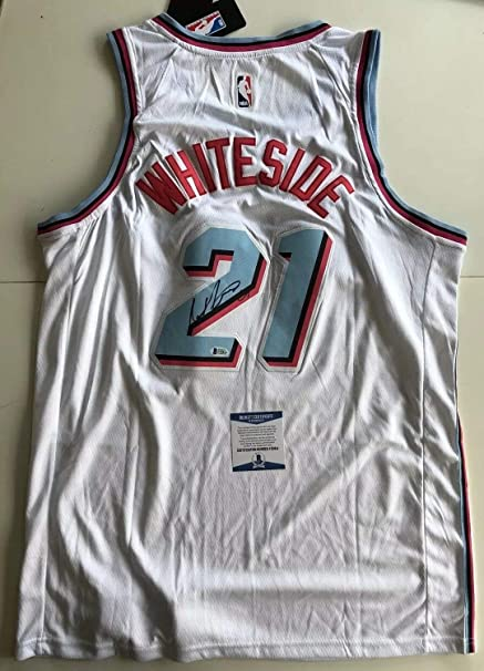 official photos dc385 ee72c Hassan Whiteside Autographed Signed Miami Vice Heat Jersey ...