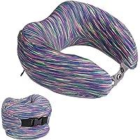 LANGRIA Memory Foam Neck Pillow (Striped Arctic Purple)
