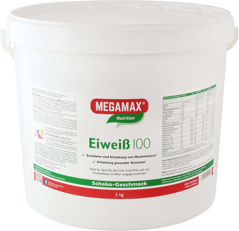 MEGAMAX - Eiweiss - Proteínas de suero de Leche y proteínas lácteas - Crecimiento Muscular y Dieta - Valor biológico Aprox. 100 - Chocolate - 5 kg: Amazon.es: Deportes y aire libre