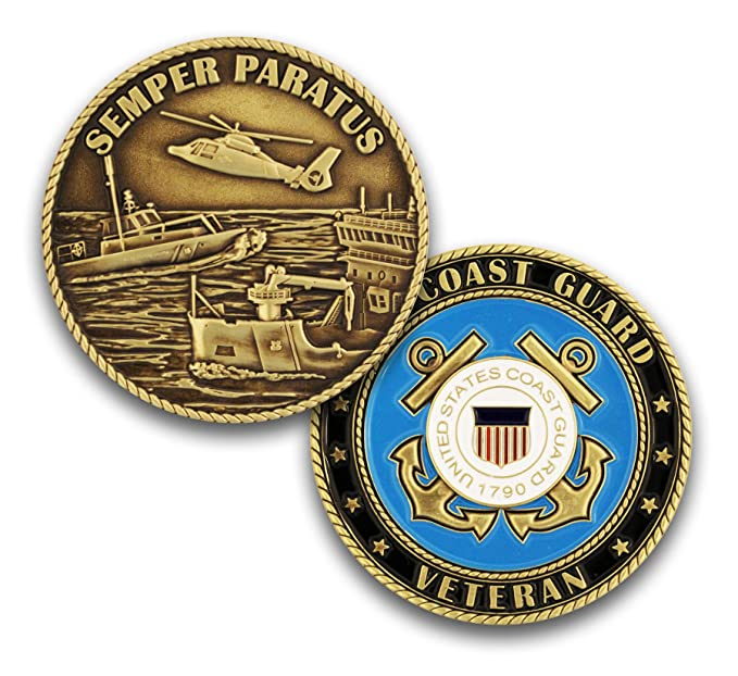Coins For Anything Inc Coast Guard Veteran Challenge Coin! Design Officially Licensed Under Coast Guard Military Challenge Coin! Designed By Military Veterans! by Coins For Anything Inc