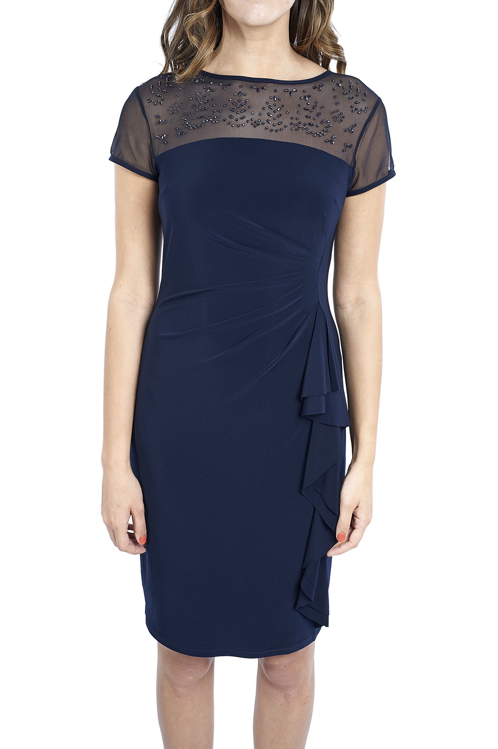 Joseph Ribkoff Midnight Blue Sheer Neck Beaded Cocktail Dress Style 163164 - Size 10