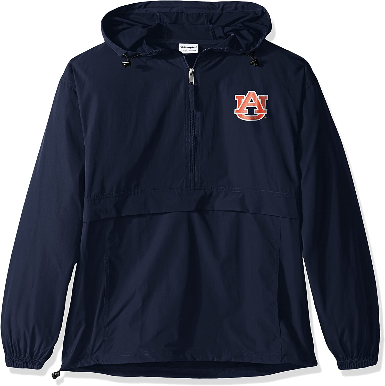 Champion NCAA Mens Half Zip Front Pocket Packable Jacket Auburn Tigers XX-Large