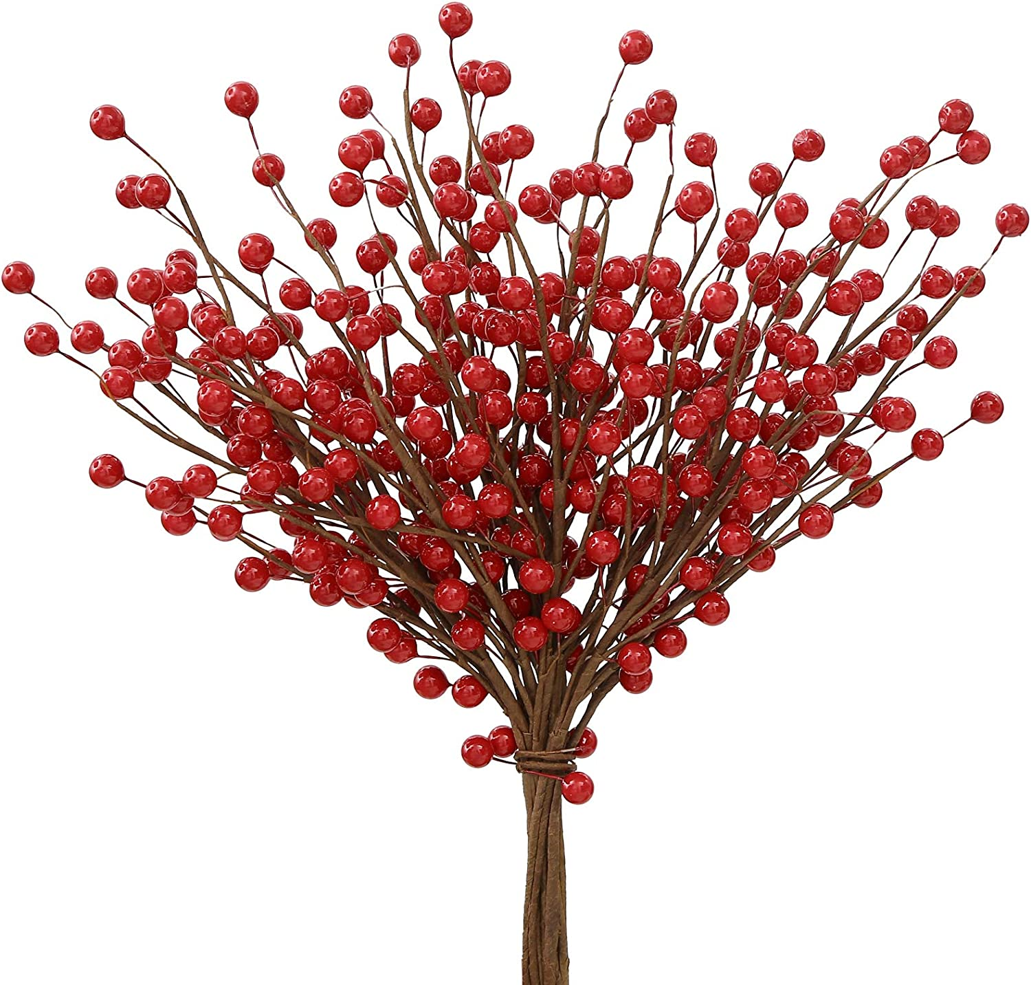 Trimgrace 12 Pack Artificial Red Berry Twig Stems Artificial Holly Berry Picks for Christmas Tree Decorations for Crafts Wedding Holiday Home Wreath Decor