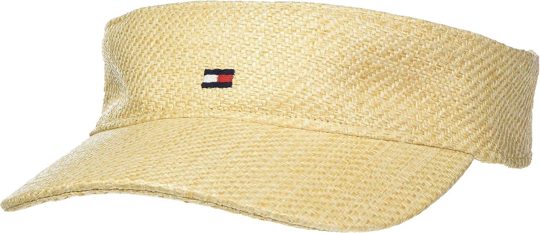 Tommy Hilfiger Flag Visor Straw Sombrero de Fieltro, Beige, Talla única (Talla del Fabricante:) para Mujer