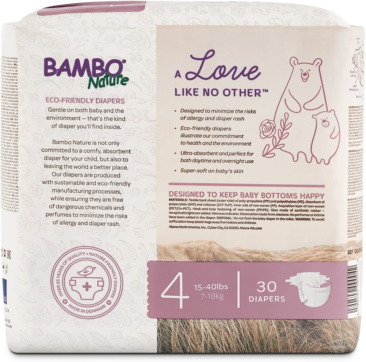 Bambo Nature Eco Friendly Premium Nappies for Sensitive Skin 35-66 lbs // 16-30 kg Size 6 Pack of 22