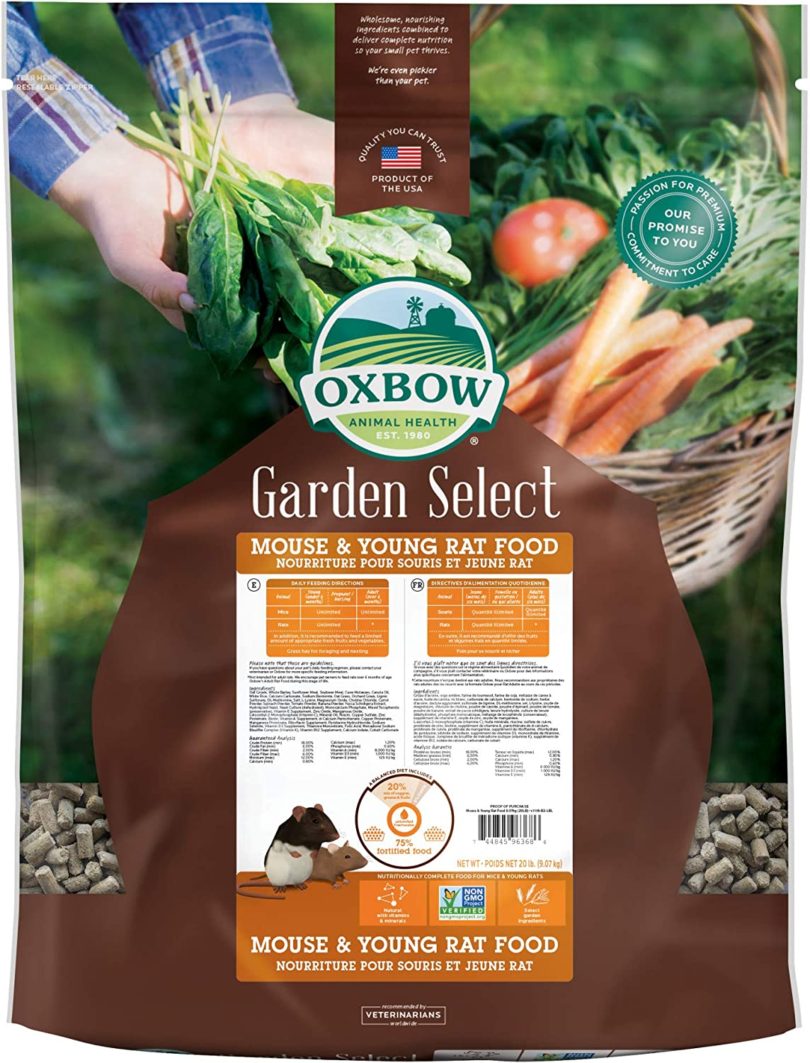 Oxbow Animal Health Garden Select Mouse and Young Rat Food, Garden-Inspired Recipe for Young Rats and Mice of All Ages, Non-GMO, Made in The USA, 20 Pound Bag
