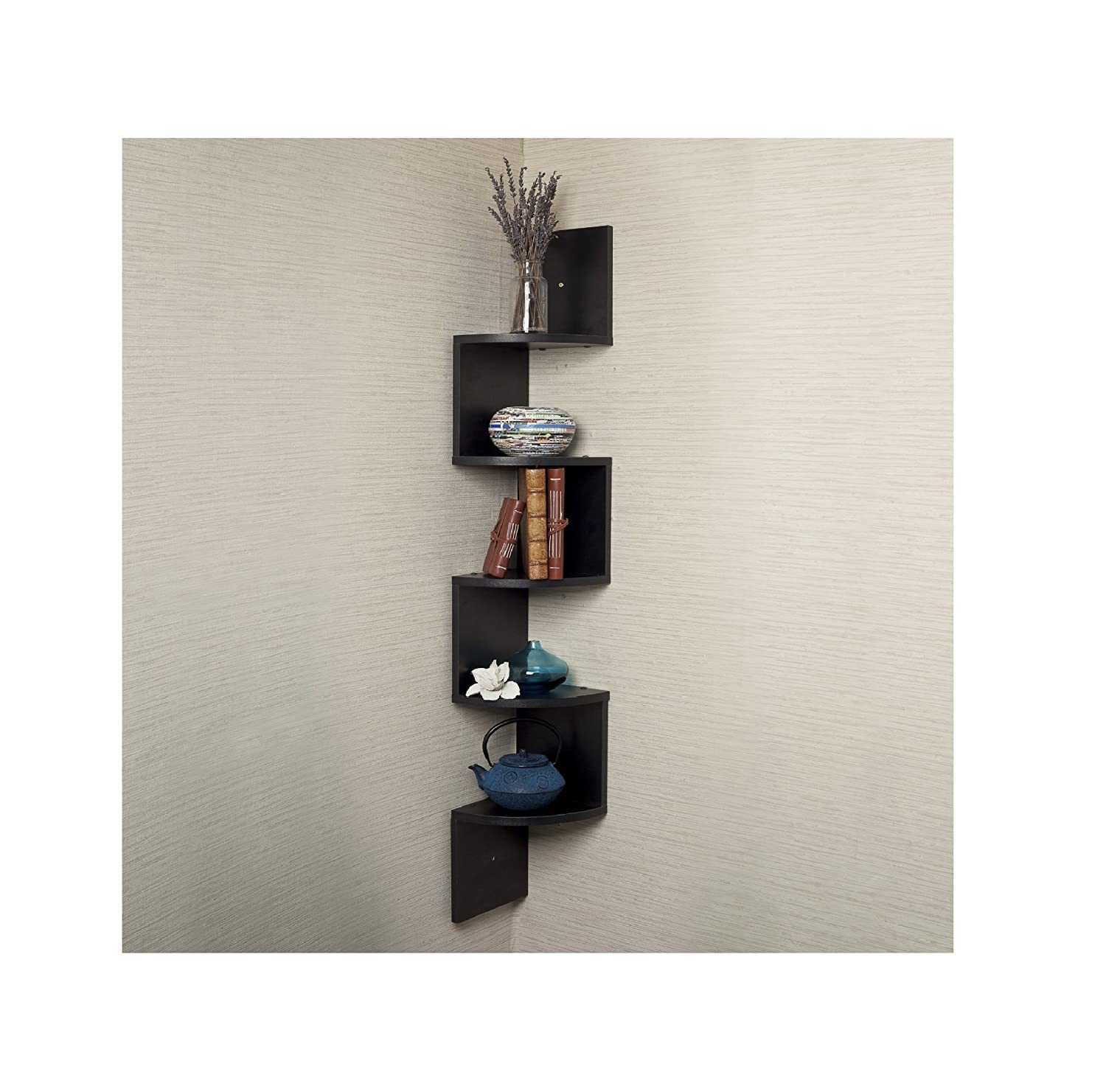 5 Tiers Wall Mount Shelves Large Home Decor Corner: corner wall mounted shelves