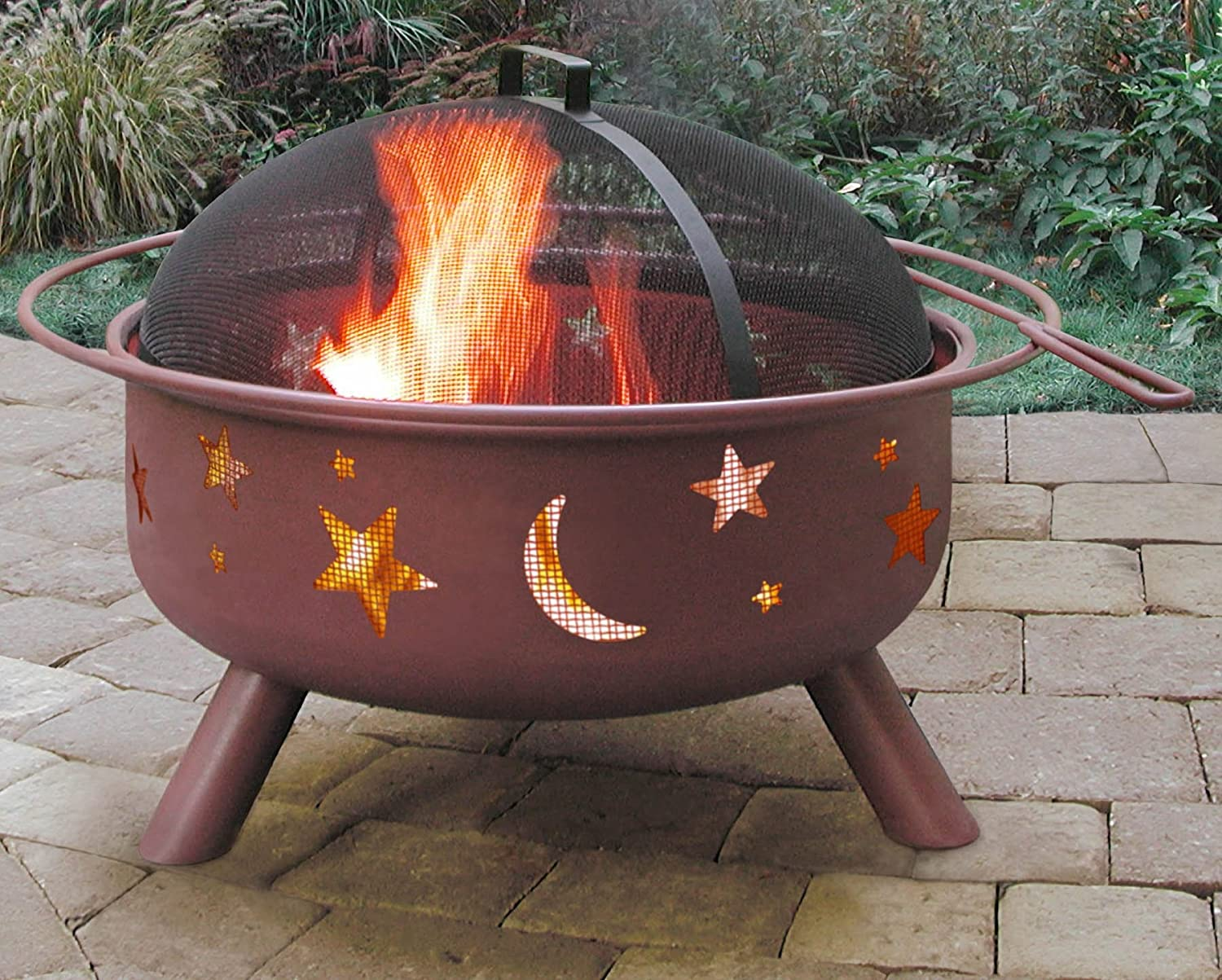 amazoncom landmann big sky stars u0026 moons fire pit georgia clay 125inches deep garden u0026 outdoor