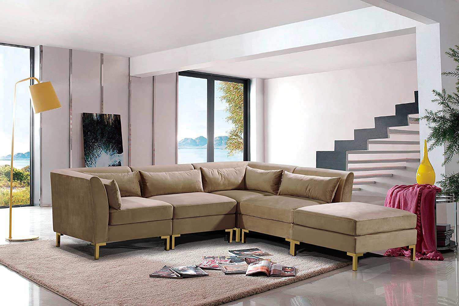 Tremendous Iconic Home Fsa9260 An Girardi Modular Chaise Sectional Sofa Velvet Upholstered Solid Gold Tone Metal Y Leg With 6 Throw Pillows Modern Contemporary Pabps2019 Chair Design Images Pabps2019Com