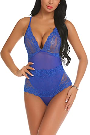 ADOME Women s Sexy Lingerie V Neck Teddy Lace Babydoll Mesh Bodysuit Blue  Small 065072755