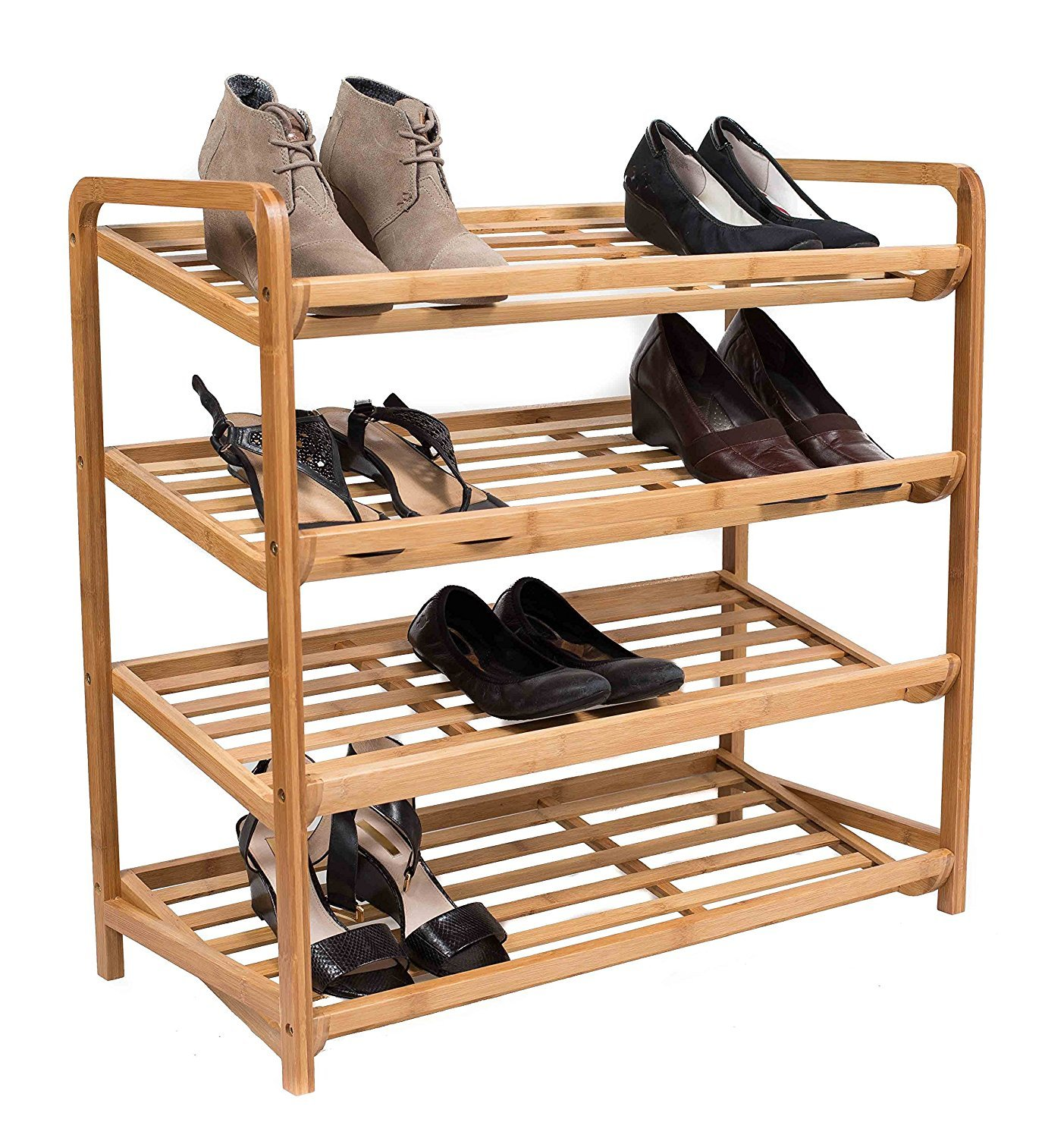 BirdRock Home 4 Tier Bamboo Shoe Rack - Home Storage Organization - Natural Durable Environmentally Friendly Organizer - Fits 9-12 Shoes by BIRDROCK HOME