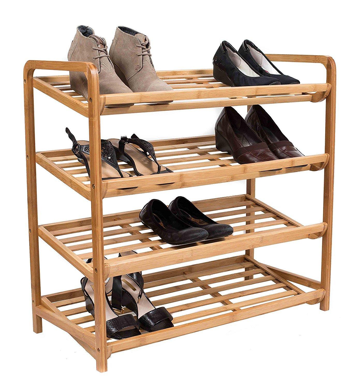 BirdRock Home 4 Tier Bamboo Shoe Rack | Home Storage Organization | Natural Durable Environmentally Friendly Organizer | Fits 9-12 Shoes