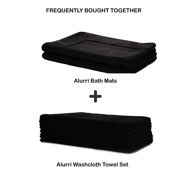 Black bathroom mats - Amazon Com Alurri Bath Mat 2 Pack Bundle 100 Pure Natural Cotton Mold Resistant Machine Washable Quick Dry Shower Bathtub Rug Super Absorbent
