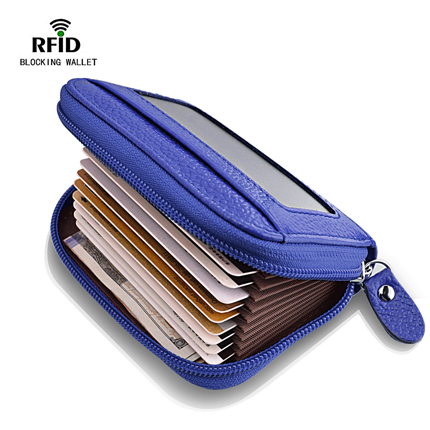 Leather Credit Card Wallet for Men RFID Credit Card Holder Protector ID Wallet Zipper Blue