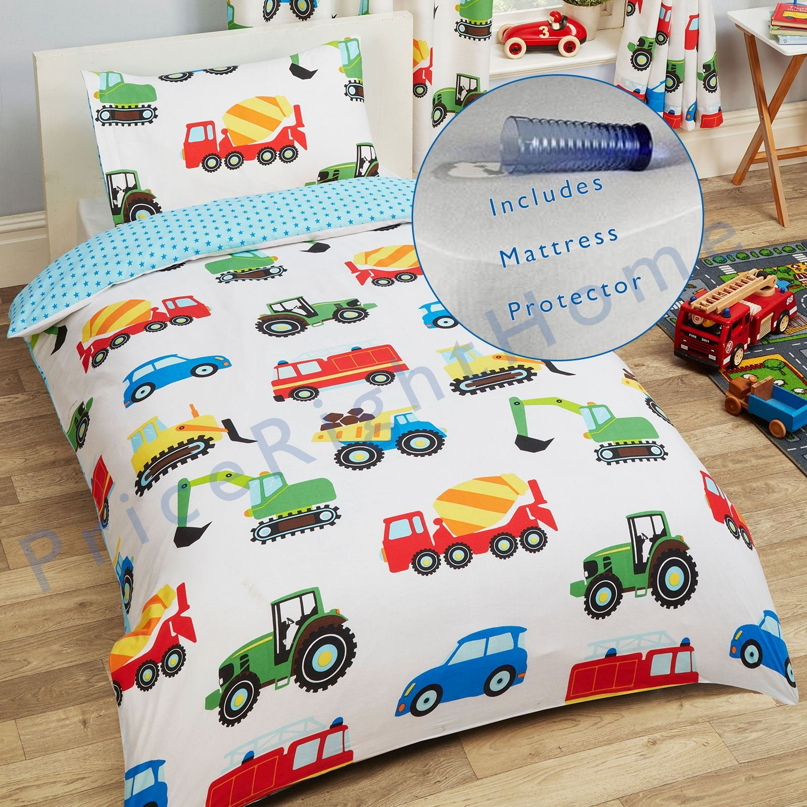 Trucks and Transport Junior/Toddler Duvet Cover and Pillowcase Set + Toddler Bed Mattress Waterproof Cover 140 x 70cm