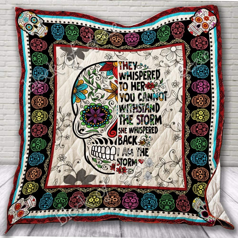 Twin All-Season Quilts Comforters with Reversible Cotton King//Queen//Twin Size Skull Quilt THH1094 I Am The Storm Best Decorative Quilts-Unique Quilted for Gifts