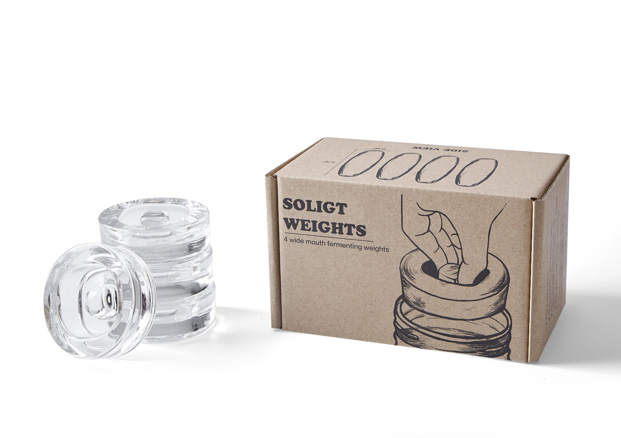 4-Pack of Fermentation Glass Weights with Easy Grip Handle for Wide Mouth Mason Jar by SOLIGT (Image #6)