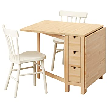 Amazon De Ikea Norden Norraryd Tisch Und Zwei Stuhle Birke Weiss